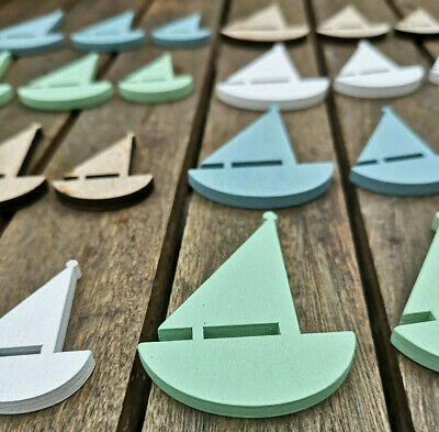 24 X Maritime Dekoration Holz Boote Blau Grün Weiß Fisch Schiffe Tischdeko Schif Attraktive Mode