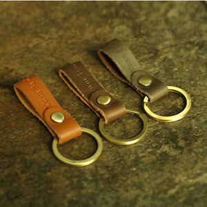 Men-Women-Handmade-Leather-Keychain-Key-Ring-Copper-Ring-Durable-Decoration-Clip