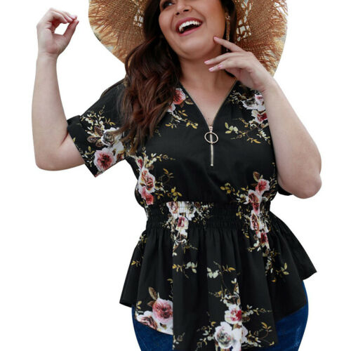 Mode Damen V-Ausschnitt Blumendruck Kurzarm Boho T-Shirt Tops Plus Size