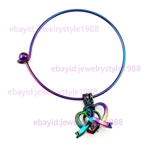S819 Rainbow Color Double Heart Pearl Beads Cage Steel Bracelet