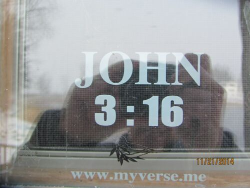 John 3:16 window decal w//dove,clear with white letters,great for car rear window
