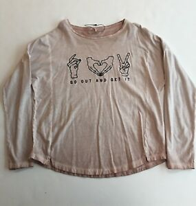 f121c42c Details about New Zara Girls Over Dyed Light Brown Long Sleeve Novelty Top  Shirt Size 11 12