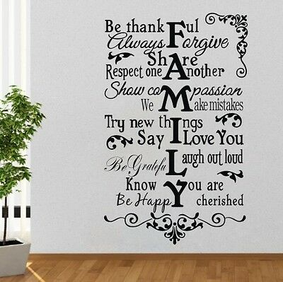 Be thankful family Wall Sticker Quote decal Removable sticker decor Vinyl art