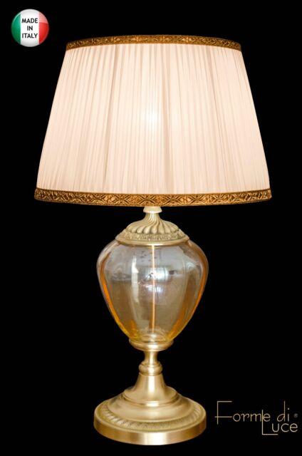 lampada da tavolo da comodino classica vetro Murano Ambra e ottone con paralume