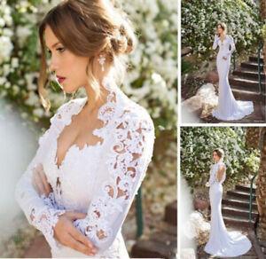 White-Ivory-Lace-Mermaid-Wedding-Dresses-Bridal-Gowns-V-Neck-Long-Sleeves-Train