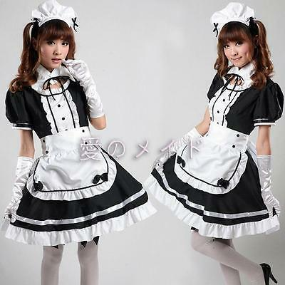 Japanese Girl Maid uniform Cosplay lolita Costume Dress freeshipping  %