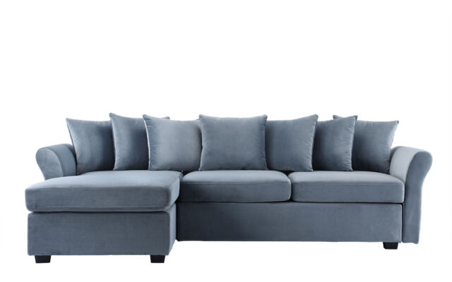 Velvet Sofa L Shape Sectional Classic Couch With Wide Chaise Lounge Pillows  Grey