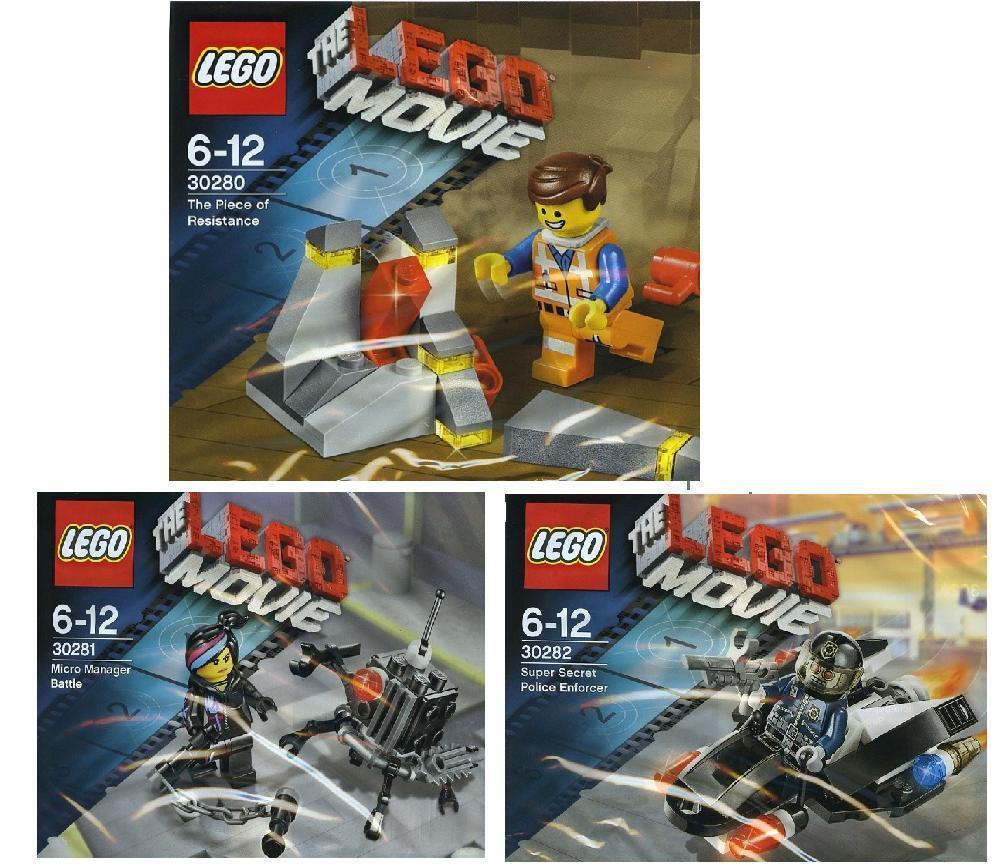 3x LEGO The Lego Movie Exklusivsets Emmet Wyldstyle Robot Cop 30280 30281 30282