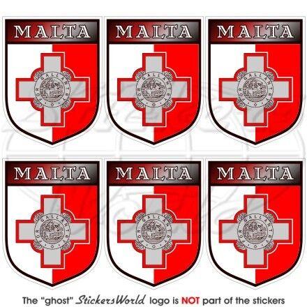"""x6 1.6/"""" MALTA Schild MALTESISCHEN Handy Vinyl Mini-Sticker Aufkleber 40mm"""