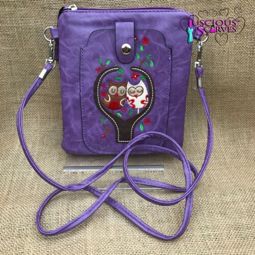 Purple Owl Small Bag with Smart Phone Spectacle Holder Long Cross Body Strap