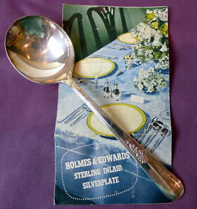 Holmes-Edwards-Soup-Spoon-Youth-Pattern-Inlaid-Silverplate-7-034-1940-039-s