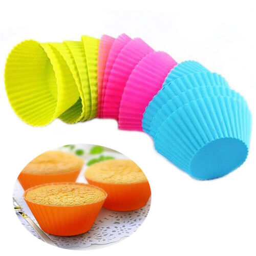 12pc Silicone Cup Cake Pan Mold Muffin Cupcake Form to Bake Kitchen random color