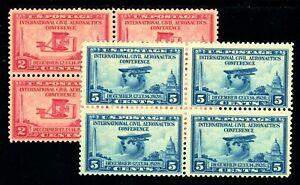USAstamps-Unused-VF-US-Aeronautics-Blocks-Set-Scott-649-650-OG-MNH