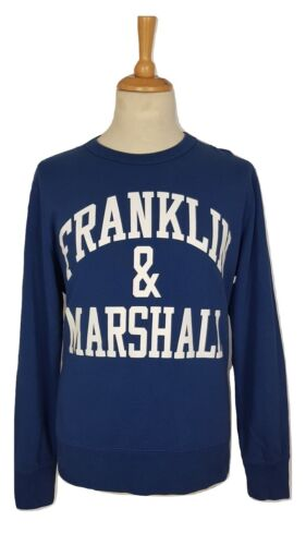 L XXL Franklin /& Marshall Mens Original Blue Curved Arch Logo Cotton Sweater