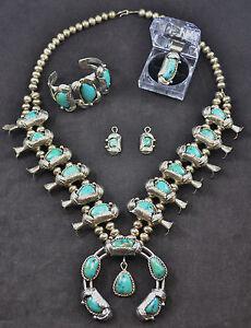 #4996 - Squash Blossom Necklace -Sterling & Turquoise - Bracelet, Ring, Earrings