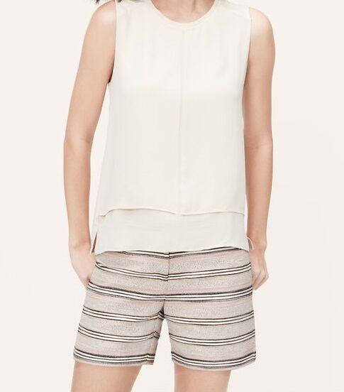 Ann Taylor LOFT Tweed Stripe Riviera Shorts with 4 Inch Inseam Size 12 NWT