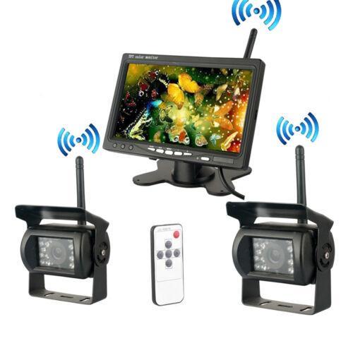 "2x IR-Rückseiten-Kamera Kit 7/"" TFT Funk Monitor Rückfahrkamera-Set für Bus-LKW"