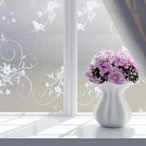 Selbstklebend-Fensterfolie-Sichtschutzfolie-Milchglasfolie-Glasdekorfolie-Blumen