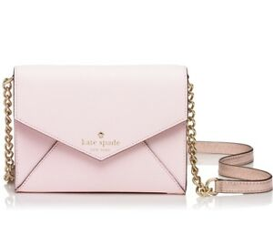 NWT-KATE-SPADE-Monday-Saffiano-LEATHER-Pink-Rose-Gold-MINI-Envelope-purse-NEW