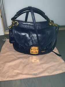 Image is loading 100-Authentic-Miu-Miu-Matelasse-Leather-Hobo-coffer- a57abeee24ea2