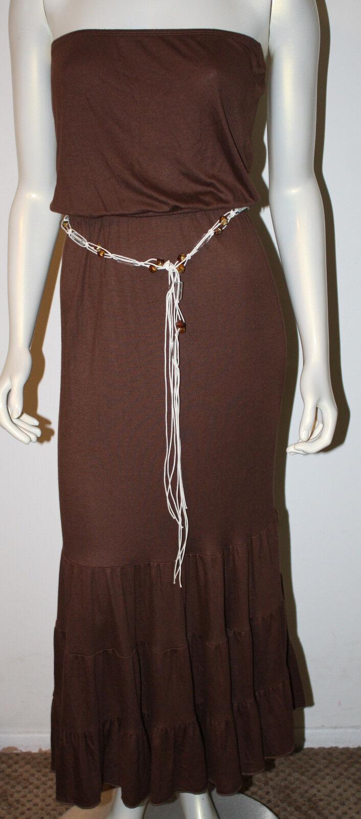 DIANE von FURSTENBERG Jamaica braun Modal Long Strapless Dress NWT S DVF