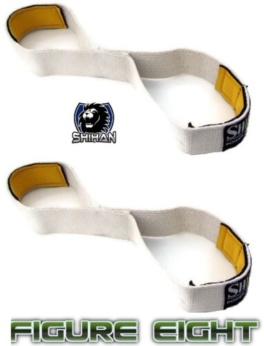WHITE Weight Lifting Training Straps Figure 8/'s Gym Hand Bar Wrist Support Strap