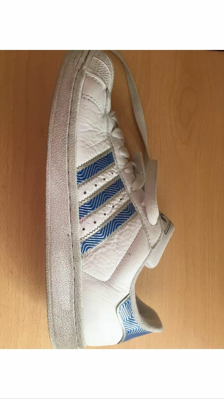 Adidas Superstar II White bluee Metallic  Stripes Style 472784 Sneakers