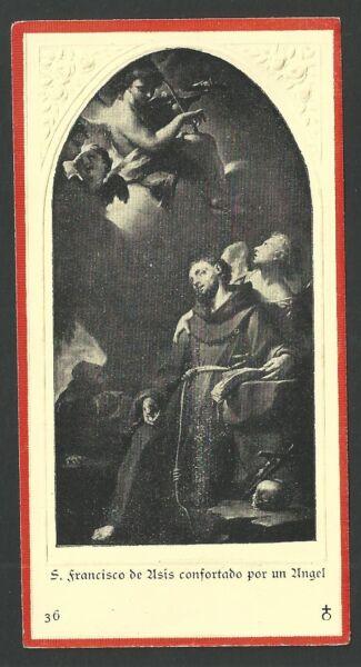 Leal Estampa Antigua De San Francisco De Asis Andachtsbild Santino Holy Card Santini