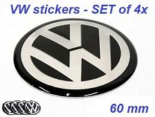 SET of 4 60mm VW Wheel Hub Caps Badge Emblem Stickers Passat Bora Golf Caddy etc