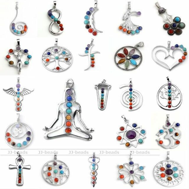 Hot Natural 7 Chakra Gemstone Healing Point Bead Pendant For Necklace Gift EY