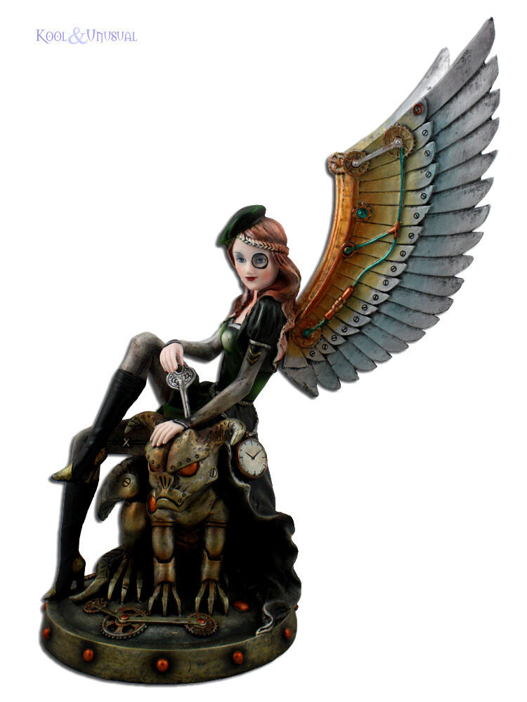 Hermoso Gran Estatua De Steampunk Angel montando un Clockwork Gárgola