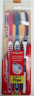 3 Pcs.COLGATE  SLIM SOFT GENTLE CLEAN ULTRA SOFT BRISTLE TOOTHBRUSH