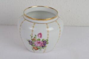 Rosenthal-1910-1945-Cachepot-Vase-Ubertopf-Florale-Elemente-Goldrand-schoener-Zus