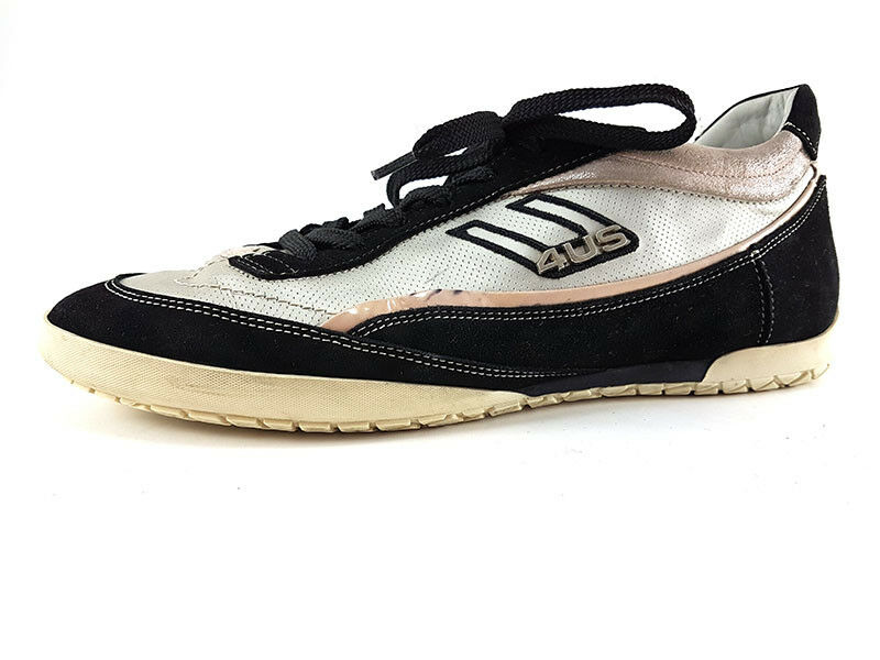 Cesare Paciotti 4US White Black Leather Suede Sneakers, Women's shoes Size US 8