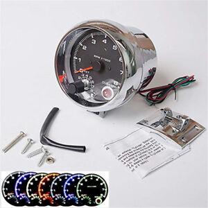 Silber-95mm-Analog-Auto-Drehzahlmesser-0-8000-RPM-LED-4-6-8-Zylinder-Motor-12V