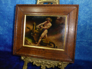 Fine-19th-Century-English-School-SAMSON-KILLING-THE-LION-Oil-Painting-on-Board