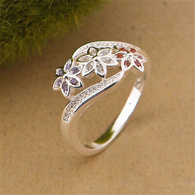Charm Women 925 Sterling Silver Plated Crystal Zircon  Ring Size 7-9 Lady Ring