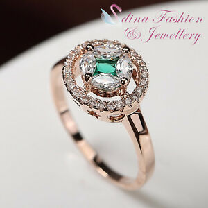 18K-Rose-Gold-GF-Made-With-Swarovski-Crystal-Hollow-Out-Star-Emerald-Halo-Ring