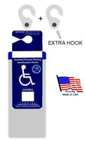 Florida Handicap Placard Holder & Protector + 2 Sturdy Hooks- On & Off In A Snap