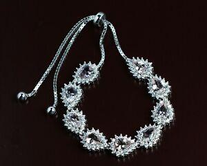 925-Sterling-Silver-7x5-mm-Pear-Cut-Natural-Morganite-Gemstone-Jewelry-Bracelet