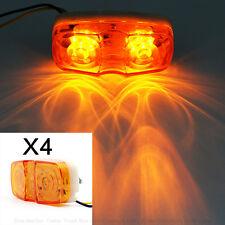 4x Double Bulls Eyes Truck Light Led Lighting Side Marker Clearance Amber