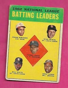 1963-TOPPS-1-AARON-MUSIAL-ROBINSON-LEADERS-VG-CARD-INV-C3150