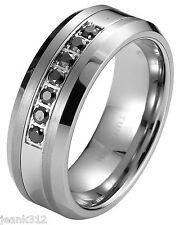 Black Diamond Tungsten Carbide Men's Wedding Ring Band 8mm classic engagement