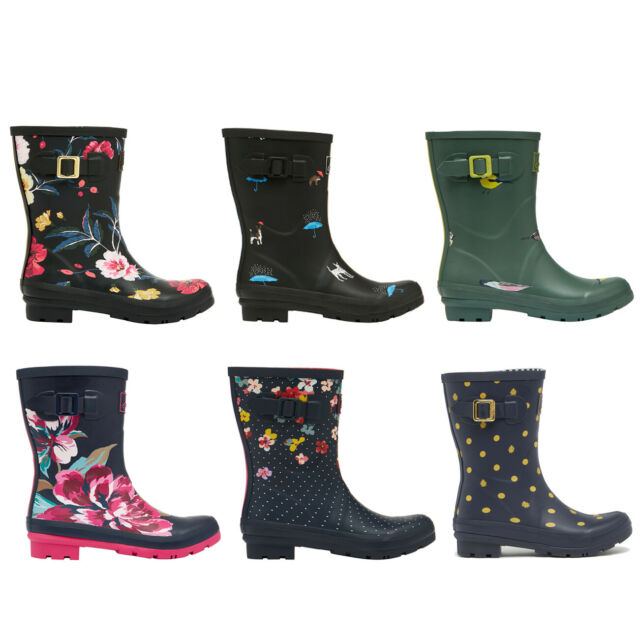 Joules Molly Welly Womens Rubber Mid Calf Boot In Navy Size UK 3-8