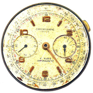 VINTAGE-CHRONOGRAPHE-SUISSE-17-JEWELS-DIAL-AND-MOVEMENT-FOR-PARTS-OR-REPAIRS