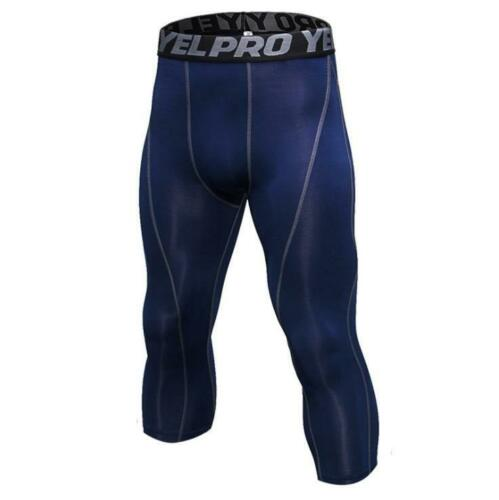 Details about  /Mens Compression Capris Sports Fit Running Basketball Gym Slim Pants 3//4 Tights