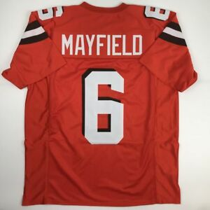 ec34fdc2f42 Image is loading New-BAKER-MAYFIELD-Cleveland-Orange-Custom -Stitched-Football-