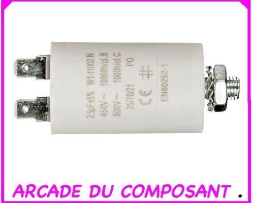1 CONDO CONDENSATEUR PERMANENT POUR  DEMARRAGE MOTEUR 450V 2.5MF ref 42-5018