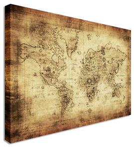World-Map-Vintage-Canvas-Wall-Art-Picture-Print
