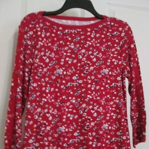 CROFT-amp-BARROW-Womens-Red-Floral-3-4-Slv-Cotton-Henley-TOP-S-NWT